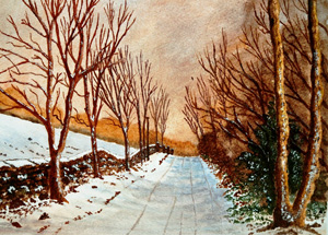 Painting of Halldale Wood in Derbyshire