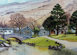 Photo of A3 landscape showing Watendlath, a hamlet in the Lake Dristrict