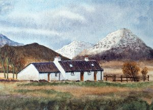 A4 Landscape Painting of Black Rock Cottage, Glencoe